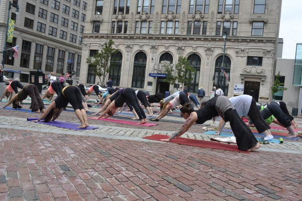 Maine YogaFest organizers hosted a flash mob in Portland's Monument Square on June 13, 2013, to promote the festival.