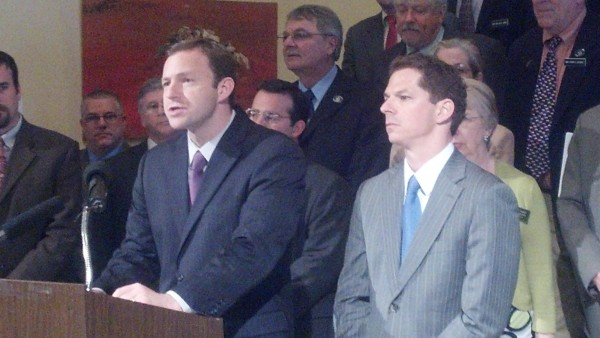 House Speaker Mark Eves, D-North Berwick, left, and Senate President Justin Alfond, D-Portland, announce a proposal to delay implementation of income and estate tax cuts passed in 2011 as a way to balance the two-year state budget that takes effect July 1, 2013.