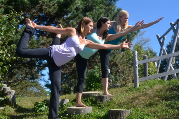 Maine YogaFest founders (from left) Justine Carlisle, Dana Woodbury, and Regan Johnson