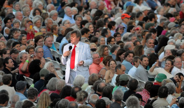 Radio personality Garrison Keillor during his show at the Bangor Waterfront Saturday evening.
