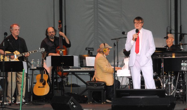 Radio personality Garrison Keillor (second from right) with the The Guys All Star Shoe Band during their show at the Bangor Waterfront Saturday evening.