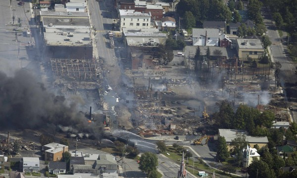 Burnt buildings are seen at Lac Megantic after a train explosion on Saturday. Four tank cars of petroleum products exploded in the middle of a small town in the Canadian province of Quebec early on Saturday in a fiery blast that destroyed dozens of buildings.