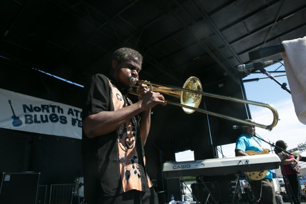 B.J. Emory (left) and Maurice John Vaughn (right) perform during the North Atlantic Blues Festival in Rockland on Saturday, July 13, 2013.