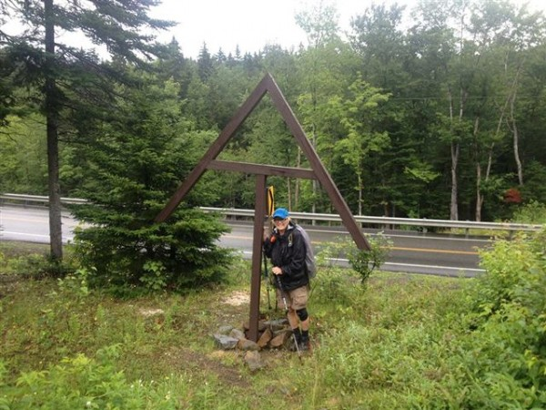 Geraldine Largay in the black jacket the Maine Warden Service says she would have been wearing last week. The photo was taken Saturday, July 20 in Sandy River Plantation at the intersection of Route 4.