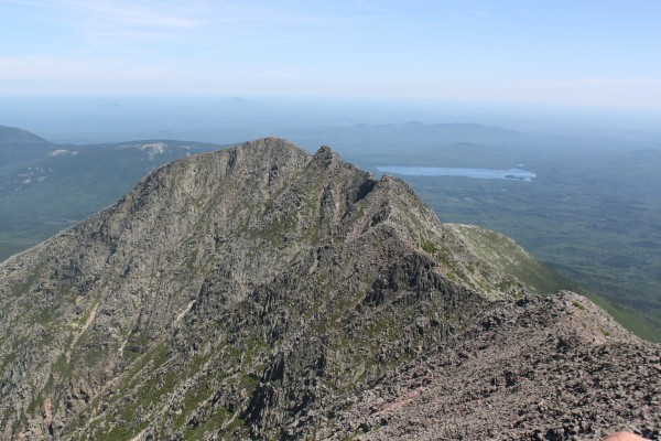 From Baxter Peak of Katahdin, 5,267 feet above sea level, hikers can walk the 1.1-mile Knife Edge to Pamola Peak, which is 4,902 feet above sea level.
