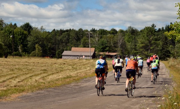 Bicyclists begin their 35-mile ride at Fedco Trees along the Hinckley Road in Clinton on Saturday. The ride was organized by Keep Riding Our Roads in the wake of a sexual assault on a cyclist in Canaan earlier this month.