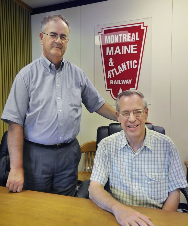 Robert Grindrod (left), president of the Montreal, Maine & Atlantic Railway, and board chairman Edward Burkhardt at their corporate offices in Hermon in August 2009.