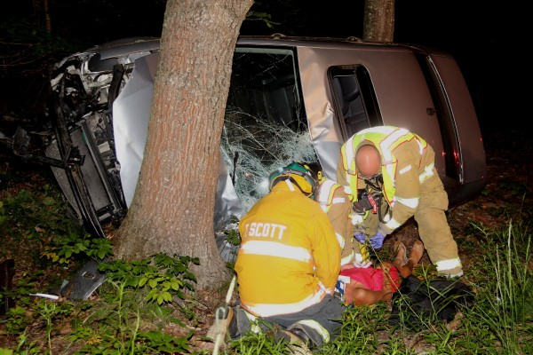 Rockland emergency workers and Owls Head firefighters responded to a car crash in Owls Head early Saturday morning.