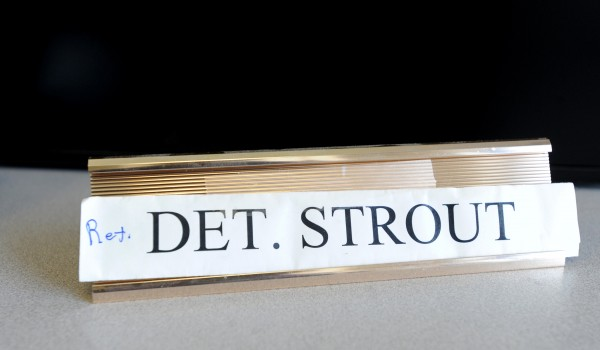 Retired Maine State Police detective Brian Strout served 25 years with the State Police, the last 15 in the Criminal Investigation Division.  May 24, 2013 was Strout's last day of work.  His modified name plate is on his empty desk.