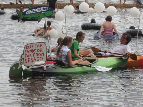 Opponents of the transportation of tar sands oil through the Portland Pipeline rallied at Sebago Lake State Park on Saturday.