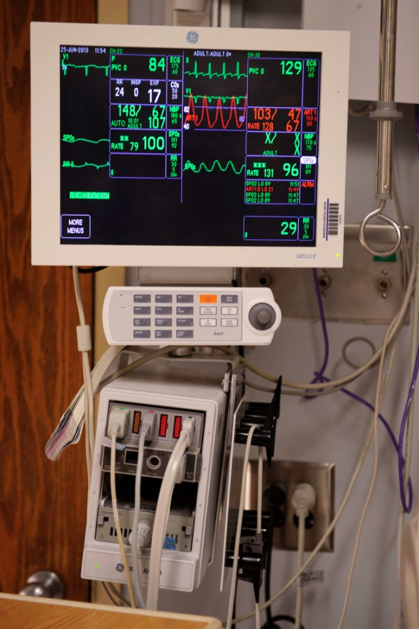 The vital signs monitor can track several different measurements from a patient's body, and sound four different categories of alarms for each measurement as seen here in MedStar Washington Hospital Center in Washington, D.C., on June 25, 2013. Intensive-care nurses face a cacophony of sounds from medical monitoring equipment, and many of those are false alarms. This can lead to &quotalarm fatigue&quot which puts patients with real problems at risk.