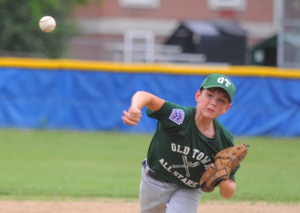 Old Town's Brenden Gassaway pitches during a District 3 Little League all-star game against Bangor West in Bangor Monday afternoon.