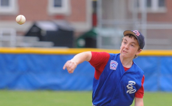 Bangor West's Brad Leadbetter pitches during a District 3 Little League all-star game against Old Town in Bangor Monday afternoon.