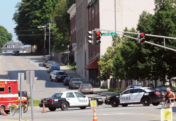 Bangor Police closed several streets in Downtown Bangor, Me Thursday during a standoff with an armed man. The man in a Park Street residence who fired 70 or more rounds from a gun was taken into custody unharmed early Thursday afternoon.