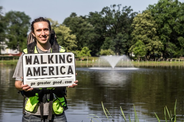 Thomas Francine of Woodbridge, N.J., will begin a cross-country walk in Portland on Monday morning at 8.