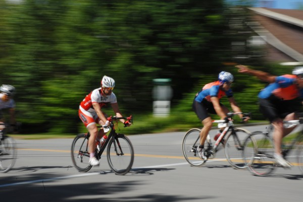 Cyclist Thad LaVallee cruises into the second lap of the Spud Cycle Classic on Sunday.
