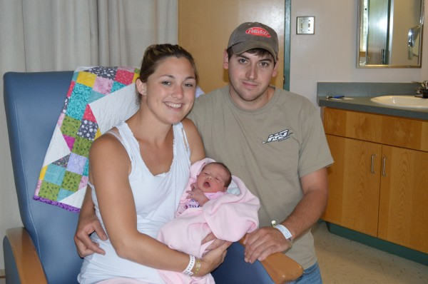 Serena Collins and Jason Bonville of Portage Lake hold their newborn baby girl Lydia at The Aroostook Medical Center's A.R. Gould Memorial Hospital in Presque Isle.  Lydia shares a birthday with The Prince of Cambridge.