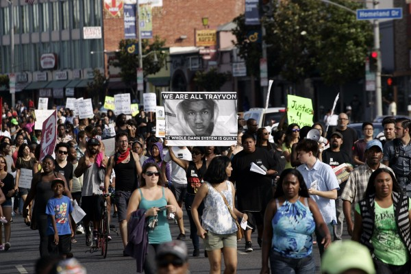 Demonstrators march during a protest against the acquittal of George Zimmerman in the Trayvon Martin trial, in Los Angeles, California July 14, 2013.