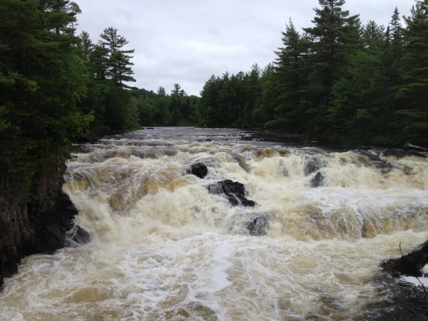 Grand Pitch, the largest waterfall along the upper East Branch Branch of the Penobscot, is an impressive sight in June 2013. This whitewater section of the river was written about by Henry David Thoreau during his travels in Maine.