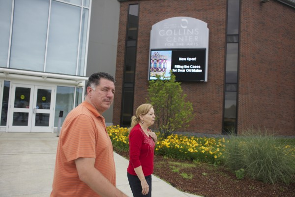 From left, James Eric Francis Sr., director of cultural and historic preservation for the Penobscot Nation and Pauleena MacDougall, director of the Maine Folk Life Center at University of Maine, walk in front of the Collins Center for the Arts on University of Maine's Campus Thursday afternoon. The Folk Life Center received a $339,000 grant from the National Science Foundation which will provide resources and linguistic training to the Penobscot Nation's language revitalization efforts and the publication of a comprehensive dictionary.