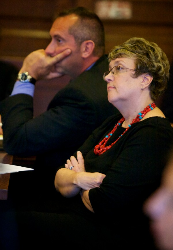 Deputy District Attorney Megan Elam listens to the defense's opening argument the first day of Eric Gwaro's trial Tuesday morning in Cumberland County Unified Criminal Court in Portland.