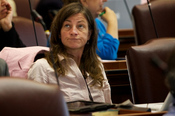 State Rep. Elizabeth Dickerson, D-Rockland, reacts as LD 1572 fails to pass in the house Tuesday. The bill would have made changes to the budget.