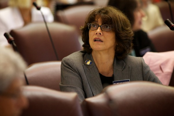 State Rep. Anne-Marie Mastraccio, D-Sanford, watches the vote tally come in at the State House in Augusta Tuesday on LD 1572 which sought to make amend the budget. It failed to pass.