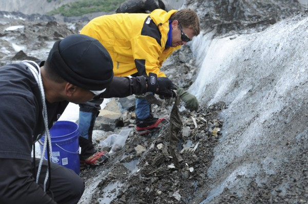 SSG Alfonso Gacuson (L) and Dr. Greg Berg, members of a specialized recovery team with the Joint POW/MIA Accounting Command assess evidence at a historic aircraft crash site at Colony Glacier, Alaska in this June 26, 2013 handout photo released to Reuters on July 8, 2013. An Alaska glacier is exposing remains from a military air tragedy six decades later. Relics from an Air Force cargo plane that slammed into a mountain in November 1952, killing all 52 servicemen on board, first emerged last summer on Colony Glacier, about 50 miles east of Anchorage.