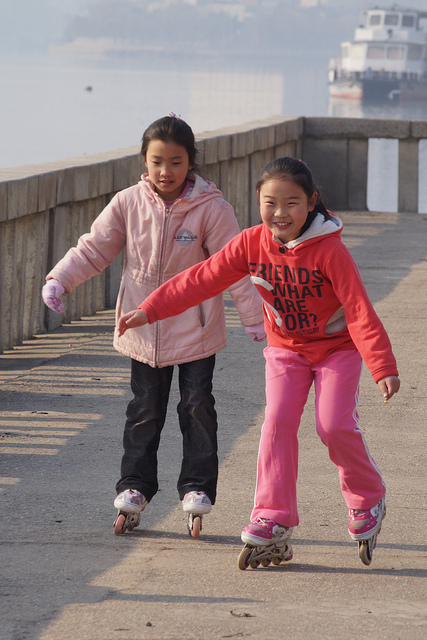 Joseph Ferris, originally from China, Maine, snapped this photo of two  girls rollerblading on one of his trips to North Korea.