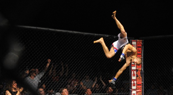 Ray Wood celebrates his MMA title fight victory over Lenny Wheeler at the Bangor Waterfront Friday night.