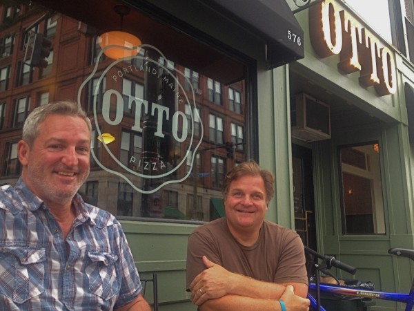 OTTO Pizza owners left to right, Mike Keon and Anthony Allen outside their flagship shop on Congress Street in Portland, Maine.