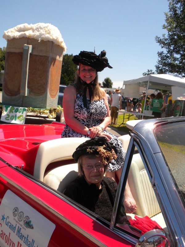 Old Home Week parade grand marshal Carolyn Howard (front seat) poses for a picture after the parade with her daughter, Elizabeth Howard-Bicknell, on Saturday, July 13.