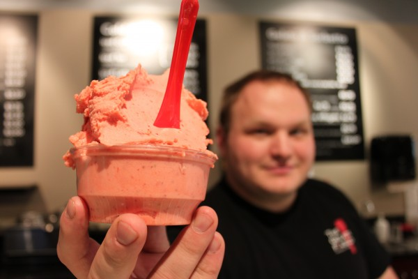 Joshua Davis, who co-founded The Gelato Fiasco in 2007 with college buddy Bruno Tropeano, displays one of the more than 1,200 flavors of gelato and sorbetto offered. The company has recently purchased new property in Brunswick in an attempt to reach a national market.