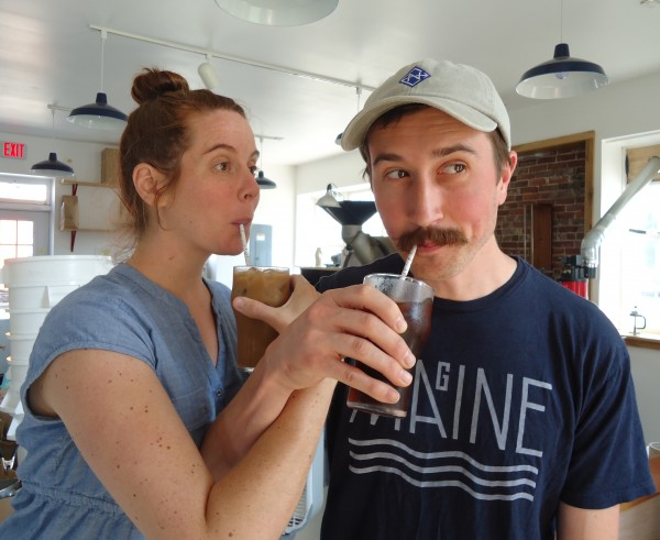 Tandem Coffee Roasters owners Kathleen and William Pratt cool down with their malted iced coffee and cold brew drinks.