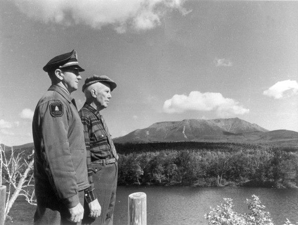 Gov. Percival Baxter (right) is shown in this undated file photo with Maine warden supervisor David Priest, looking out over Baxter State Park.