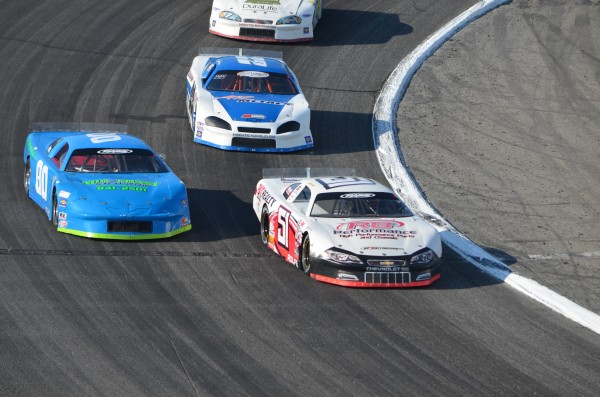 Ricky Rolfe of Albany Township (51) won the 50-lap last chance qualifying race for the 40th annual TD Bank 250 at Oxford Plains Speedway on Sunday. Jeremie Whorff of West Bath (80) and Aaron Ricker of Tamworth, NH (22) earned provisional entries into the 250-lap race
