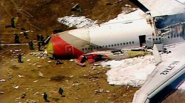 An Asiana Airlines Boeing 777 is pictured in this KTVU image after it crashed Saturday while landing at San Francisco International Airport in California.