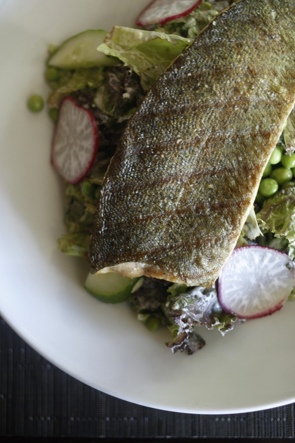 Grilling seafood can be intimidating but with a few tricks and a little trial and error great results can be had. Grilled trout is the feature of a summer salad at 18 Seaboard in Raleigh, North Carolina.