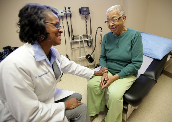 Dr. Gwendolyn Graddy-Dansby, M.D. a geriantrician for Henry Ford Health Systems talks to her patient, Annie G. Watts, 81, after her dialysis treatment at the Henry Ford Center for Senior Independence in Detroit, Michigan, on Thursday, October 11, 2012.