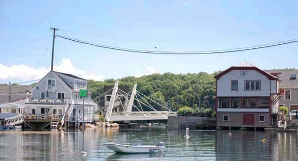 This image of a modified bascule bridge proposed by Rosales & Partners, superimposed on a photo of the existing Gut Bridge in South Bristol, was presented to the Maine Department of Transportaion in January as an alternative to the bridge initially proposed by the MDOT.