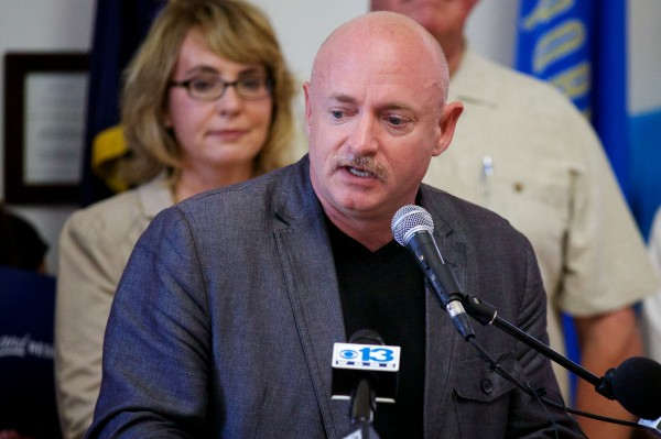 Retired astronaut Capt. Mark Kelly, husband of former Arizona Rep. Gabrielle Giffords, along with families of victims of school shootings from across the country, came to Portland on Saturday afternoon to call for what they said are common sense gun laws.