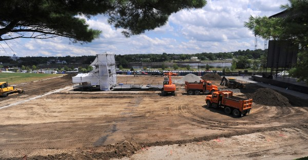 City of Bangor crews work at the Darling's Waterfront Pavilion trucking away some of the soil and putting in extra drainage. Officials say the smell was caused by the organic composition of the soil and sod reacting to the large amount of rain in recent weeks.