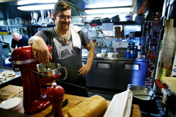 Chef Rocco Salvatore Talarico of Supperpie pauses for a moment while preparing a pop-up dinner in South Portland.
