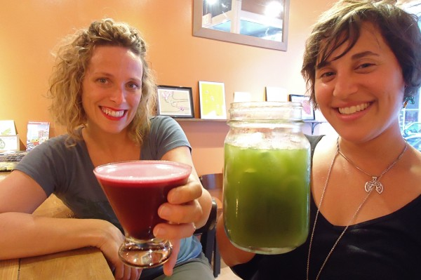 Roost House of Juice owners Kathleen Flanagan and Jeanette Richelson (from left) are bringing a healthy cocktail hour to downtown Portland. This is the shaketini sangria and the governor made with fresh pressed juice and wine.