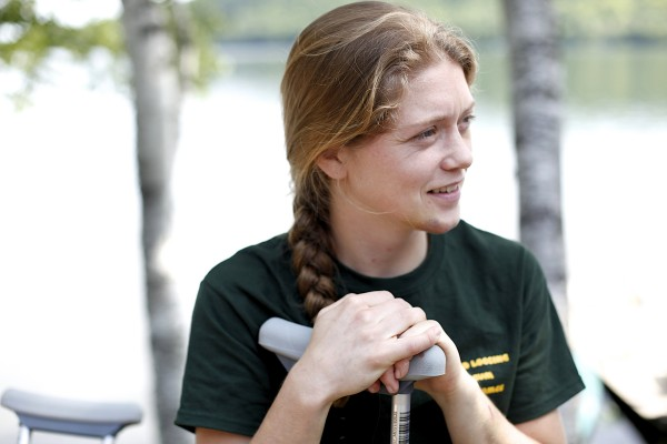 Lisa Bates, assistant project coordinator for Unity College bear studies, recounts a helicopter crash she and her pilot survived while looking for bears that occurred on Wednesday, July 3, 2013.