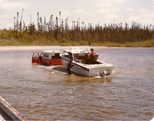 A crew of fishermen from Maine had a tough time launching their boat in June of 1978 while taking one of several trips to Lake Mistassini in Quebec. The group had to back well into the lake in order to get boats off trailers, one of many adventures they shared over the years.