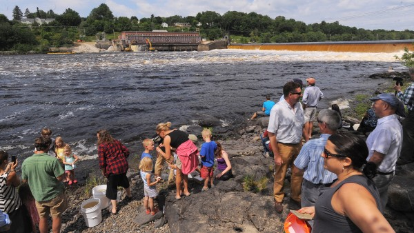People watch from the Eddington side as crews work on the ceremonial breaching of the Veazie Dam on the Penobscot River Monday.