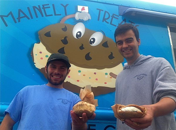 Jack Barber (left) and Ben Berman, owners of Mainely Treats, show their gourmet ice cream sandwiches, made with all Maine ingredients.