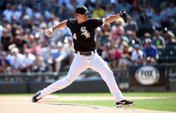 Chicago White Sox starting pitcher Jake Peavy throws against the Atlanta Braves during a game on July 20 at US Cellular Field in Chicago. Peavy has been traded to the Boston Red Sox.