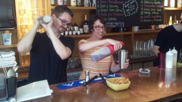 Head bartender and mixologist Tim Zabihaylo (left) and co-founder Johanna Corman prepare a couple &quotmocktails&quot at Vena's Fizz House, a soft-drink bar that opened July 10 in Portland's Old Port.